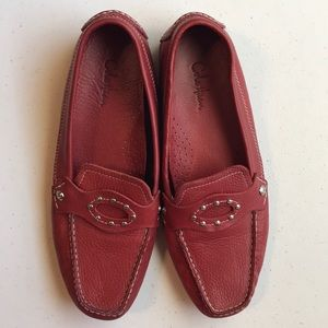 Cole  Haan red leather driving shoes size 7.5 M